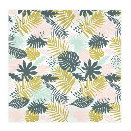 Picture of Party Deco® Napkins 3 layers,  Aloha Leaves 20 pcs.
