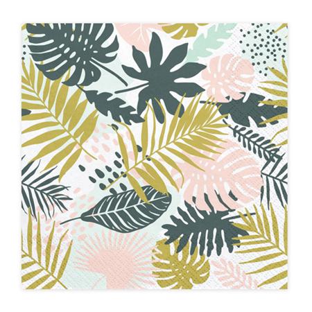 Party Deco® Napkins 3 layers,  Aloha Leaves 20 pcs.