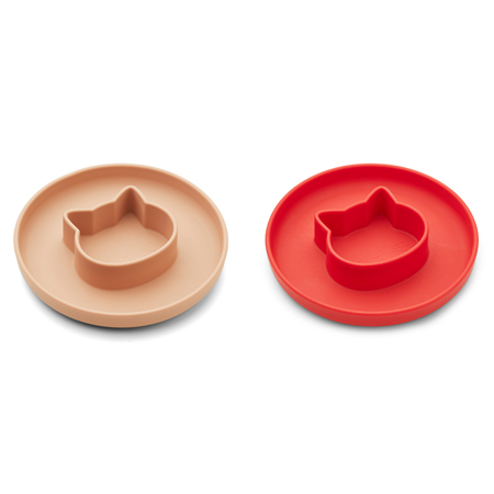 Picture of Liewood® Gordon Plate 2 Pack - Cat Apple red/tuscany rose Mix