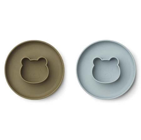 Picture of Liewood® Gordon Plate 2 Pack - Mr bear blue fog/khaki mix