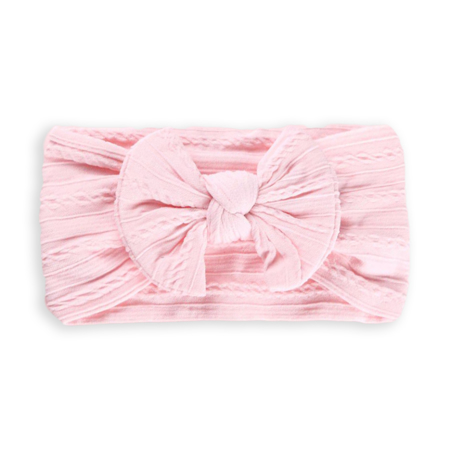 Picture of Elastic Cable bow Headband BOHO Baby Pink