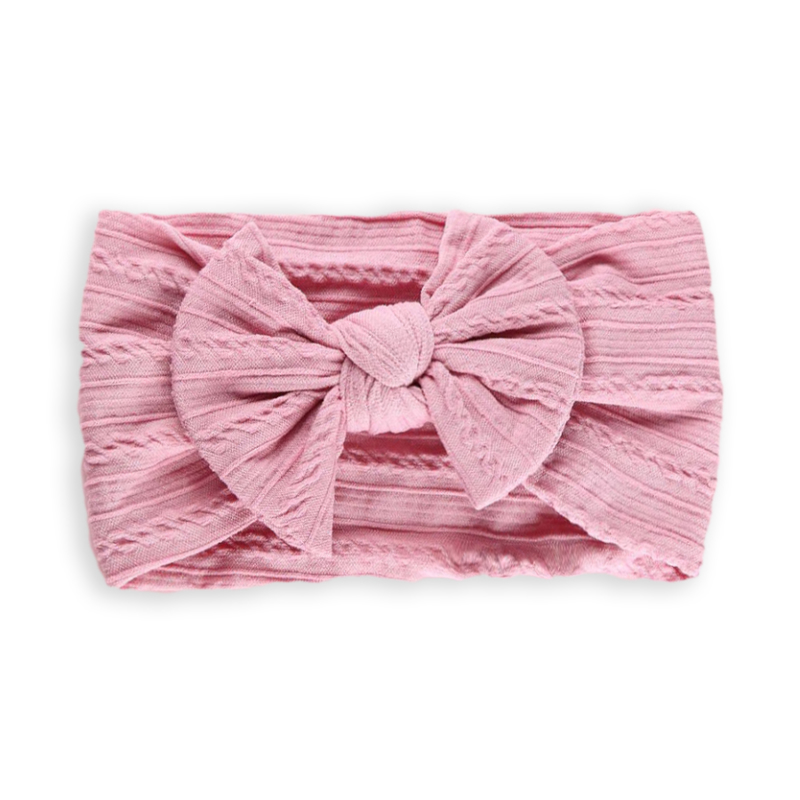 Picture of Elastic Cable bow Headband BOHO Pink