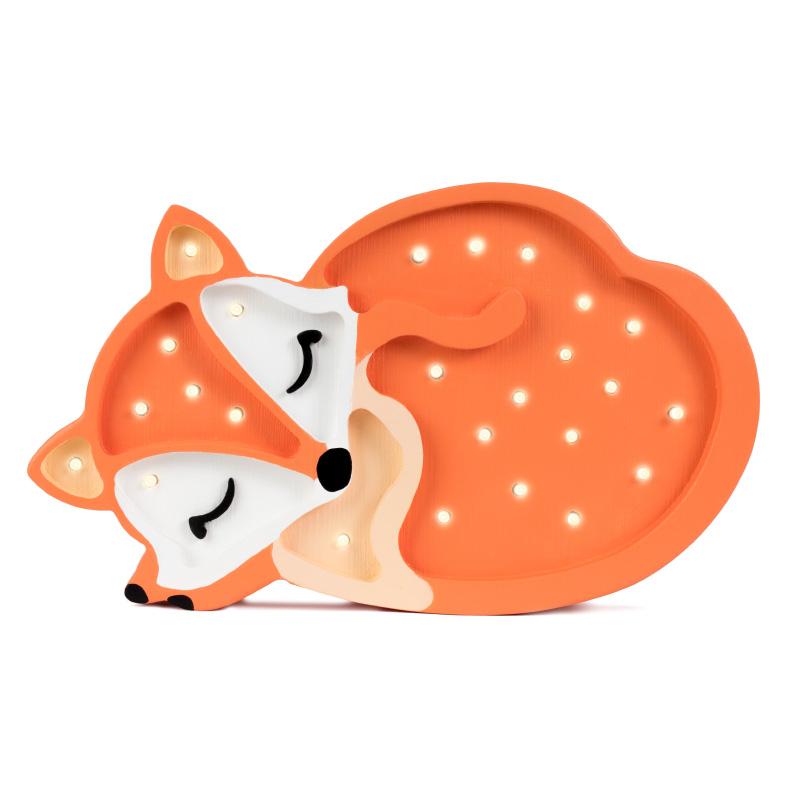 Picture of Little Lights® Handmade wooden lamp Fox Wild Orange