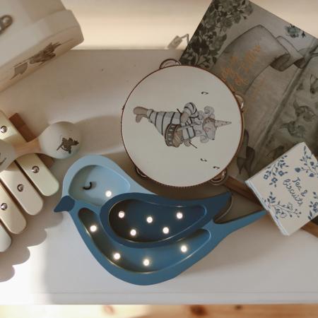 Picture of Little Lights® Handmade wooden lamp Bird Denim Mini
