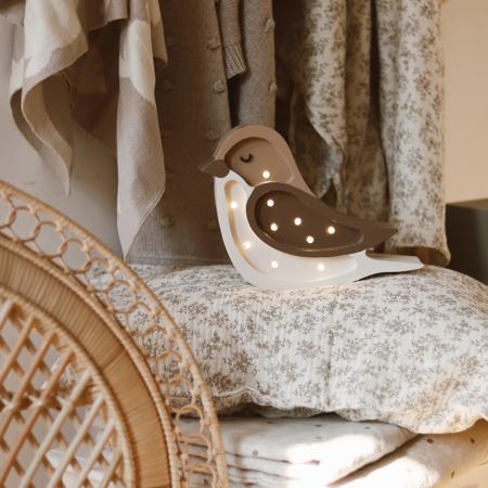Picture of Little Lights® Handmade wooden lamp Bird Coffee Beige Mini
