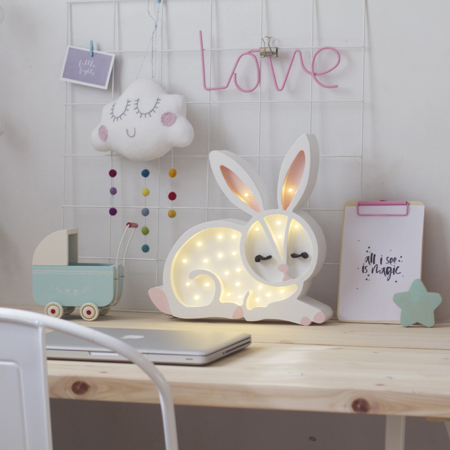 Picture of Little Lights® Handmade wooden lamp Bunny Snow White