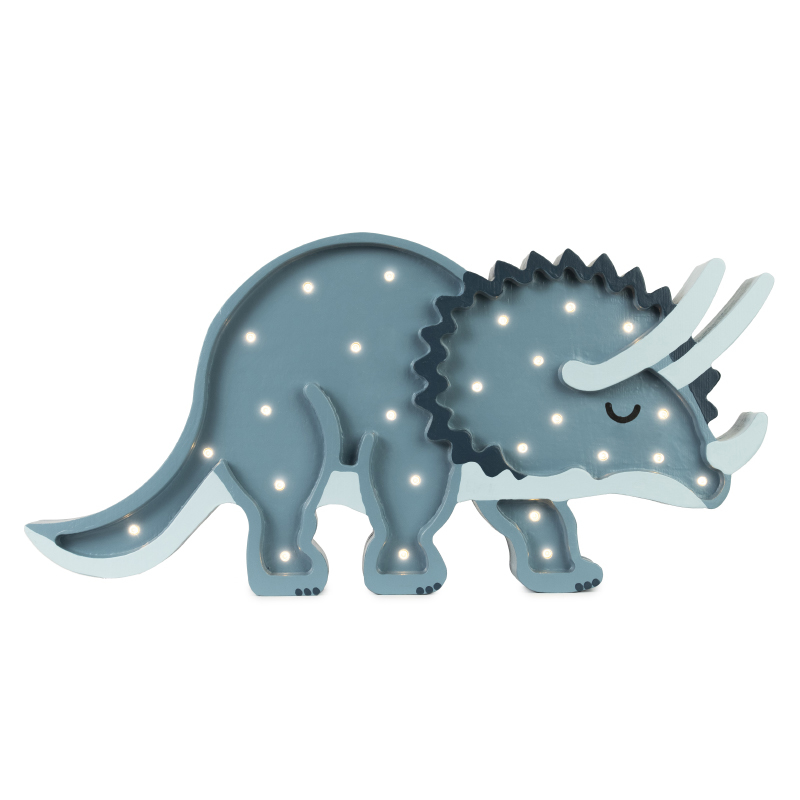Picture of Little Lights® Handmade wooden lamp Dino Triceratops Jurassic Navy