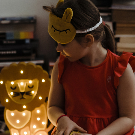 Picture of Little Lights® Handmade wooden lamp Lion Yellow