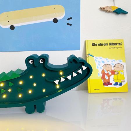 Picture of Little Lights® Handmade wooden lamp Crocodile Papkin Green