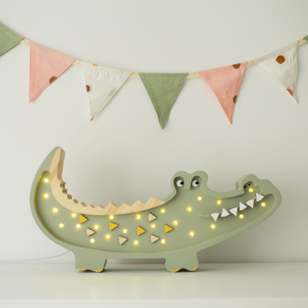 Picture of Little Lights® Handmade wooden lamp Crocodile Pastel Khaki
