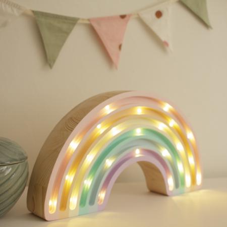 Picture of Little Lights® Handmade wooden lamp Rainbow Pastel