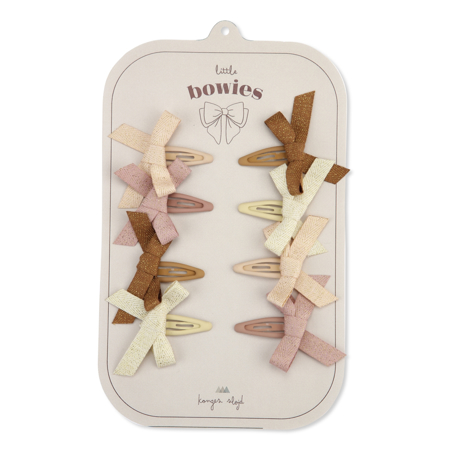 Picture of Konges Sløjd® 8-pack Hair Clips Bow Glitter Rose
