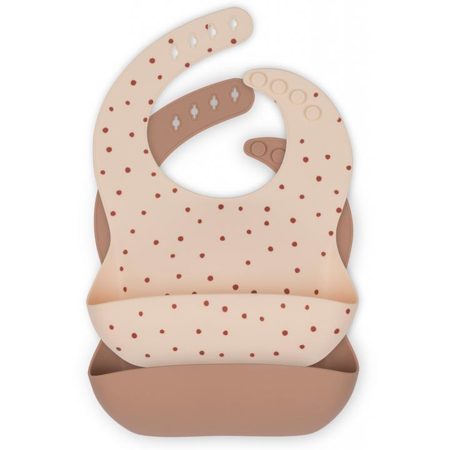 Picture of Konges Sløjd® Baby bib Silicone 2 pack Raspberry Red Dot/Bark