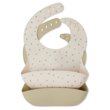 Picture of Konges Sløjd® Baby bib Silicone 2 pack Terracotta Dot/Limonade