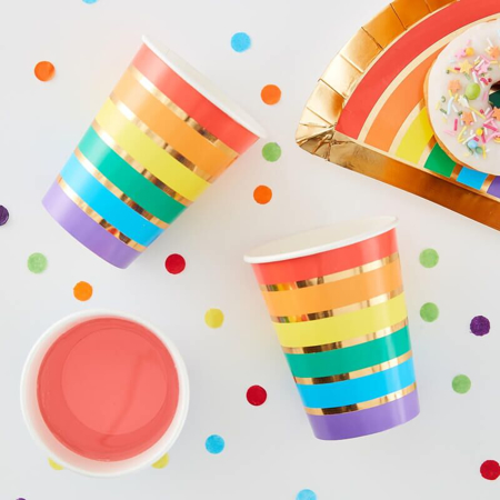 Ginger Ray® Paper Cups Rainbow Gold 8 pcs.