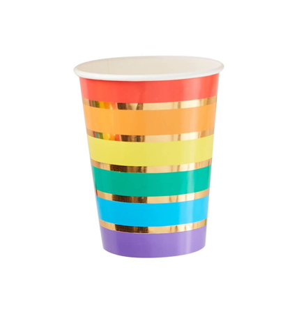 Picture of Ginger Ray® Paper Cups Rainbow Gold 8 pcs.