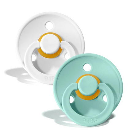 Picture of Bibs® Natural Rubber Baby Pacifier White & Mint 1 (0-6m)