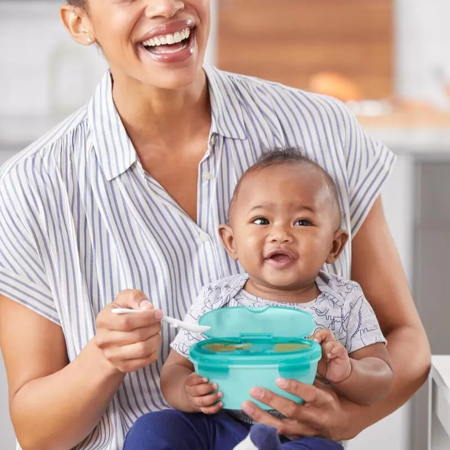 Picture of Skip Hop® Easy-Serve Travel Bowl & Spoon- Grey/Soft Teal