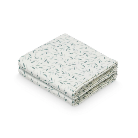 Picture of CamCam® Musling Cloth GOTS Green Leaves 70 x 70