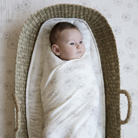 Picture of CamCam® Light Muslin Swaddle GOTS Green Leaves 120x120