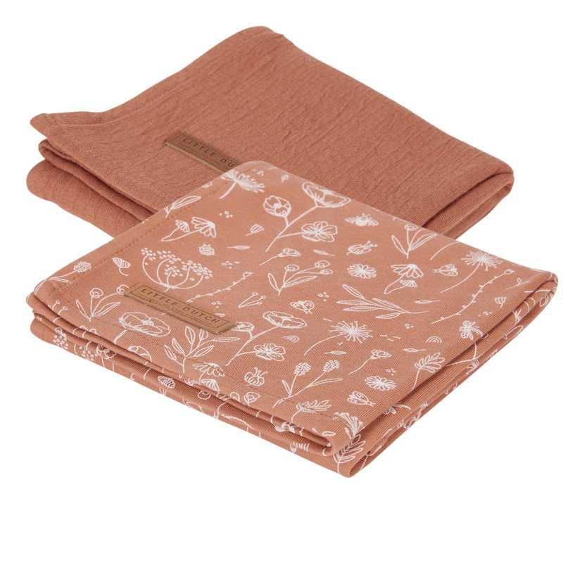 Picture of Little Dutch® Swaddles Wild Flowers Rust/Pure Ruste 70x70