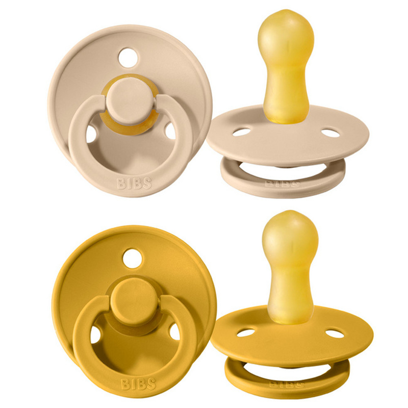 Picture of Bibs® Natural Rubber Baby Pacifier Vanilla & Mustard 2 (6-18m)
