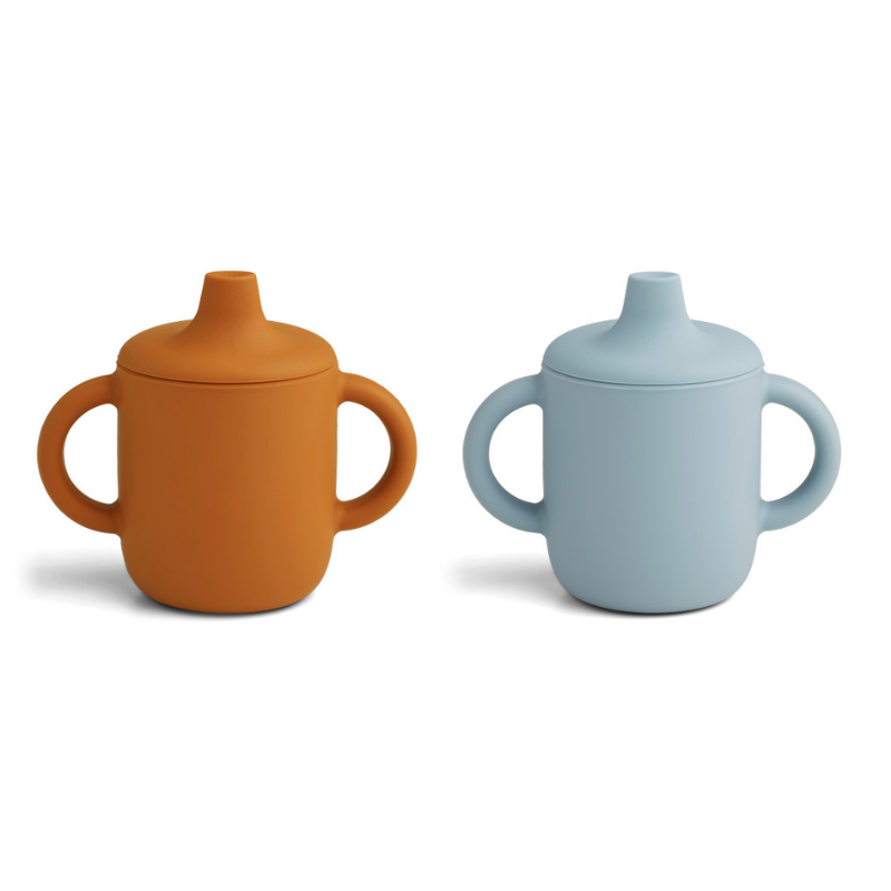 Picture of Liewood® No-spill Training Nail cups Mustard/Sea Blue Mix 2pc