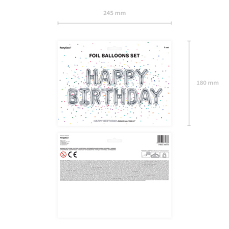 Picture of Party Deco® Ballons  happy Birthday Silver