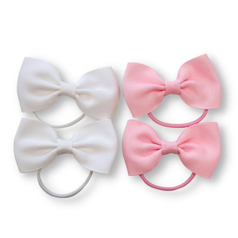 Picture of Elastic Hand Bands Bowtie Ø3,5cm 4 pcs. White & Pink