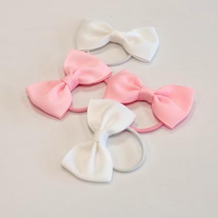 Elastic Hand Bands Bowtie Ø3,5cm 4 pcs. White & Pink