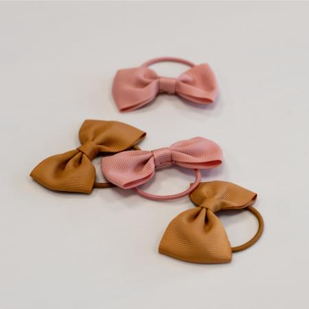 Elastic Hand Bands Bowtie Ø3,5cm 4 pcs. Mustard & Powder Pink