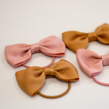 Picture of Elastic Hand Bands Bowtie Ø3,5cm 4 pcs. Mustard & Powder Pink