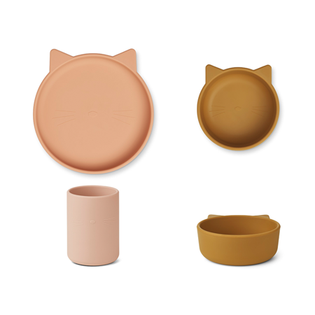 Picture of Liewood® Cyrus Silicone Tableware 3 pack Junior Cat Rose Multi Mix