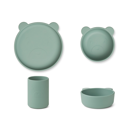 Picture of Liewood® Cyrus Silicone Tableware 3 pack Junior Rabbit/blue multi mix