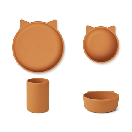 Picture of Liewood® Cyrus Silicone Tableware 3 pack Junior Cat/almond