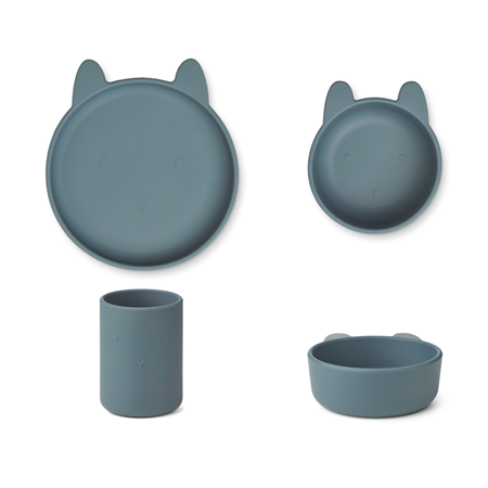 Picture of Liewood® Cyrus Silicone Tableware 3 pack Junior Rabbit Whale Blue