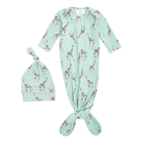 Picture of Aden+Anais® Comfort knit™ newborn gift set knotted gown + infant hat (0-3M) Jade Giraffe