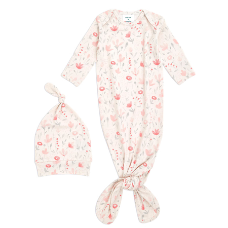 Picture of Aden+Anais® Comfort knit™ newborn gift set knotted gown + infant hat (0-3M) Perennial