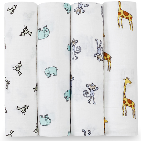 Picture of Aden+Anais® Classic Swaddle Set 4-Pack Jungle Jam (120x120)