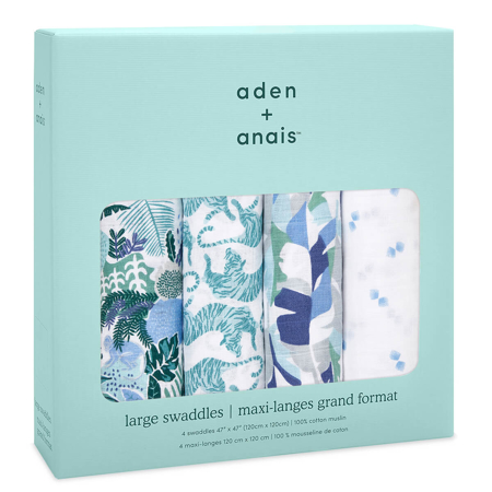 Aden+Anais® Classic Swaddle Set 4-Pack Dancing Tigers (120x120)