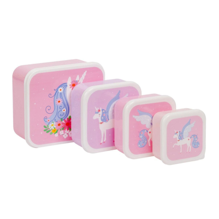 Picture of A Little Lovely Company® Lunch & snack box set Unicorn